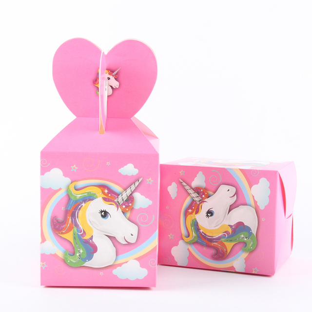 6pcs/lot Unicorn Theme Cartoon Paper Bags Baby Shower Souvenirs Gift Candy  Boxs Birthday Party