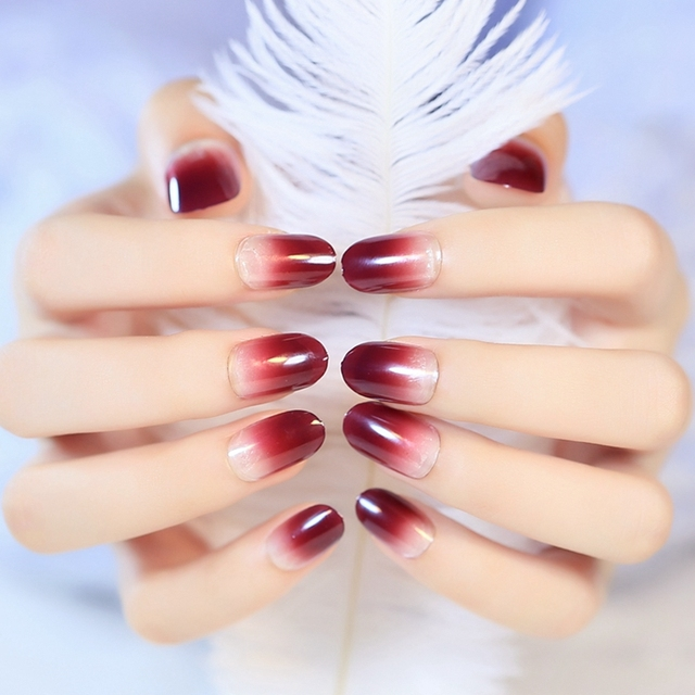 Noble Plastic Acrylic False Nail Tips Bright Red Wine Gradual Color