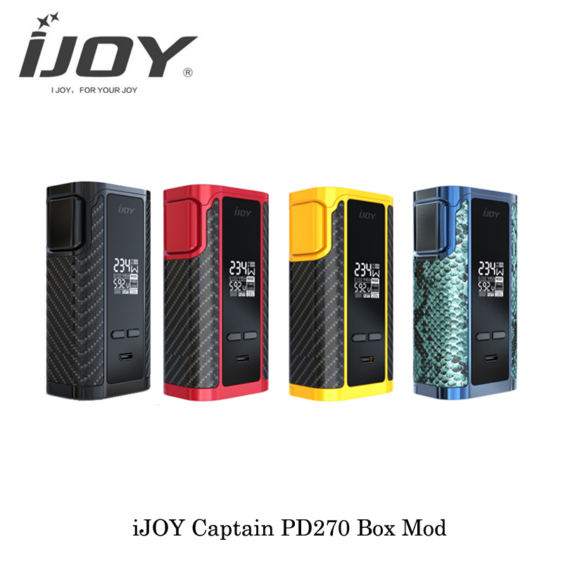 Original nouvelle E-Cigarette iJoy Captain PD270 TC boîte Mod 234 W double 20700/18650 Batteries TC OLED vaporisateur Vape VS SMOK ALIEN 220 W