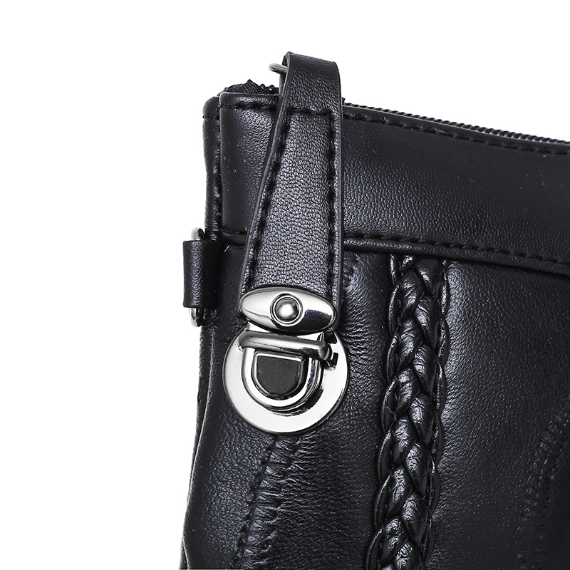 Image 5 - Leather women bag weaving pattern sheepskin mini shoulder bags ladies clutches classic cell phone packet-in Clutches from Luggage & Bags