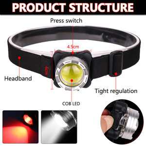 Image 2 - Pocketman Headlamp USB Headlight COB LED Head Lamp Rechargeable Head Light Waterproof with Built in Battery White Red Lighting