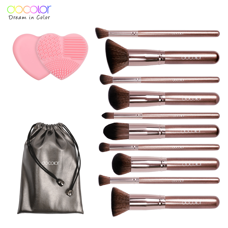Docolor makeup brushes 10pcs Professional brand make up brushes set with bag coffee color with brush clean top Synthetic Hair pastel makeup brush 10pcs with bag