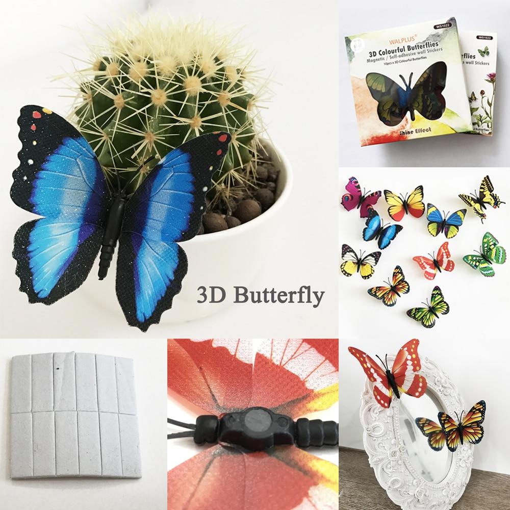 Walplus 10 Pcs Lot 3d Pvc Magnet Kulkas Glitter Papillons Bing Bling Wall Sticker Butterfly Motif Kupu Bagus Diy Home Decor Ganda Gunakan Ws1022 Di Stickers Dari Rumah