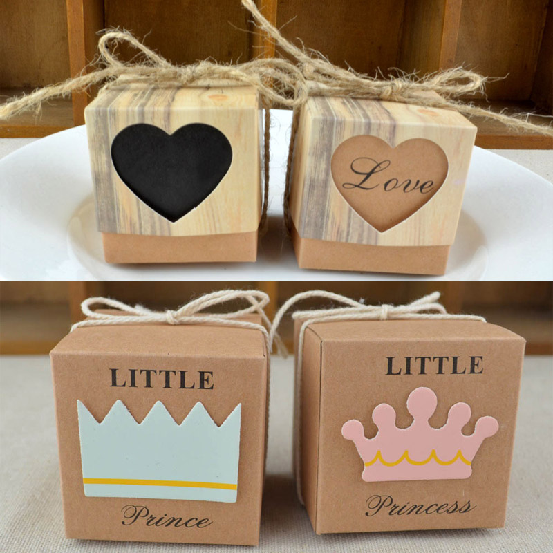 Crown Heart-shaped Wedding Sugar Bag Retro Kraft Paper DIY Candy Box Carton Packaging Snack Box Wedding Favor Party Supplies