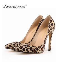 LOSLANDIFEN Classic Sexy Flock High Heels Women Lady Pumps Velvet Spring  Wedding Shoes Pumps Big Size 35-42 302-1Leopard
