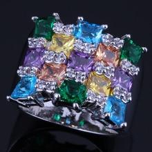 Glaring Square Multigem Multicolor Sky Blue Cubic Zirconia 925 Sterling Silver Ring For Women V0577