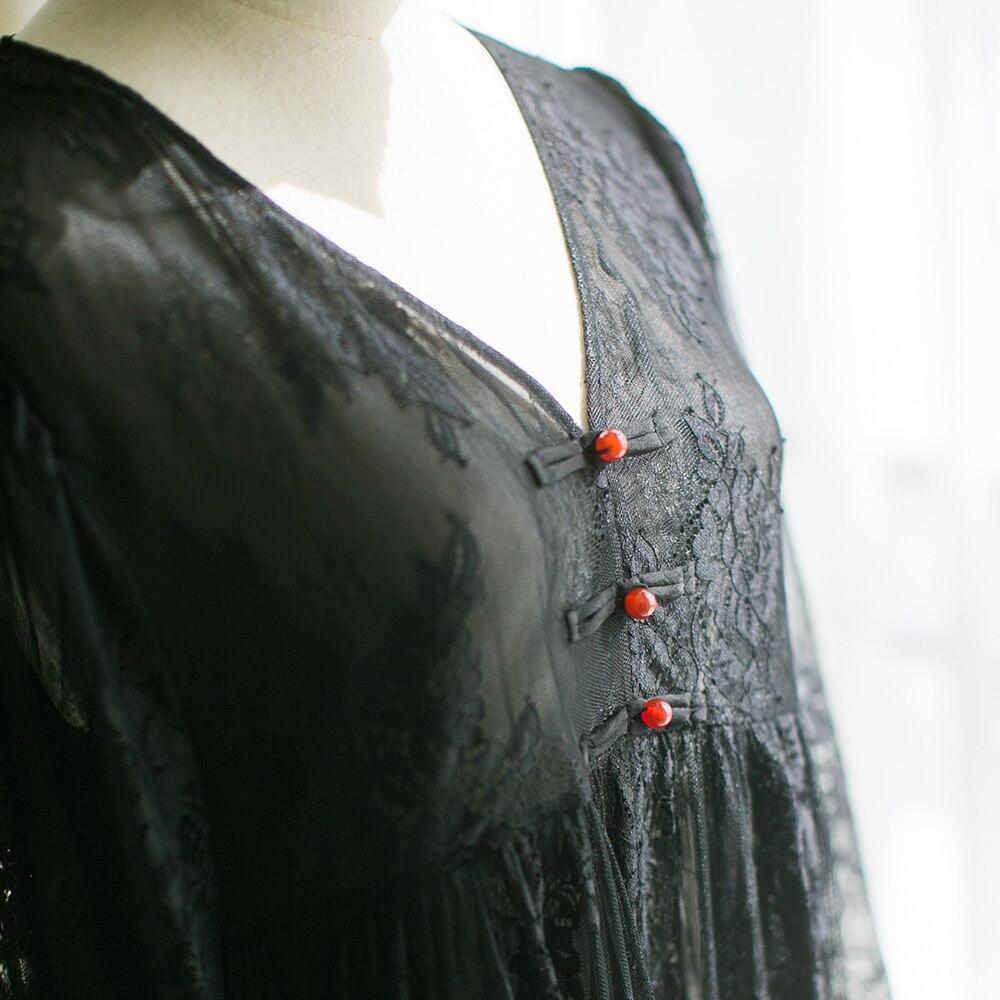 MM132 Nieuwe Collectie Zomer 2017 drie kwart mouw v hals grote bottom vintage elegante lange maxi wimper kant jurk zwart wit - 6