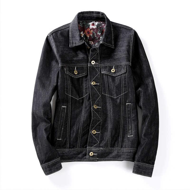 2019 秋の新波正規ラペル花デニムジャケット日本のレトロなツーリングメンズ黒のジャケット
