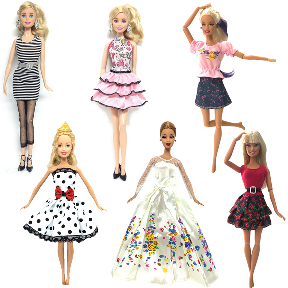 все цены на NK 6 Set/Lot Hot Sell Doll Outfits Top Fashion Dress Party Gown Clothes For Barbie Doll Baby Toys Best Girls' Gifts Child Toys