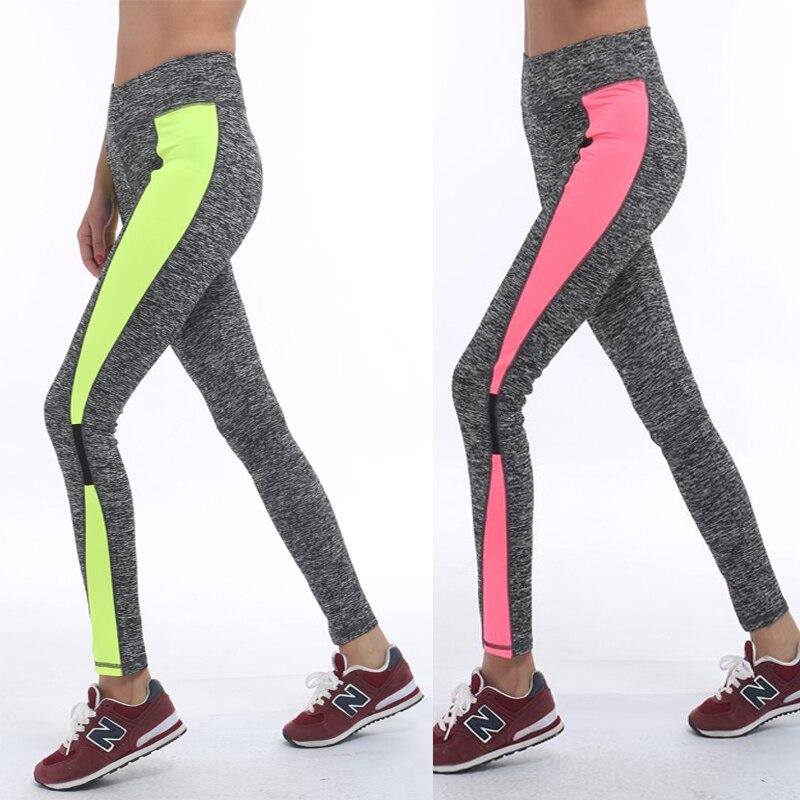Для женщин Activewear розовый темно-серый Леггинсы для женщин Стильная женская обувь тренировки Леггинсы Высокая Талия сращены