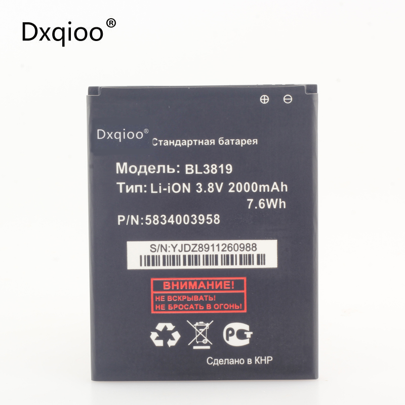 Dxqioo BL3819 mobile phone battery For  FLY ( Fly )  IQ4514 Quad EVO Tech 4-2000mAh  batteries