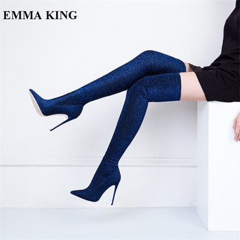 EMMA KING Winter Pointy Toe Stretch Fabric Over The Knee Boots High Heels Stiletto Slip On Thigh High Boots Women Size 35-43