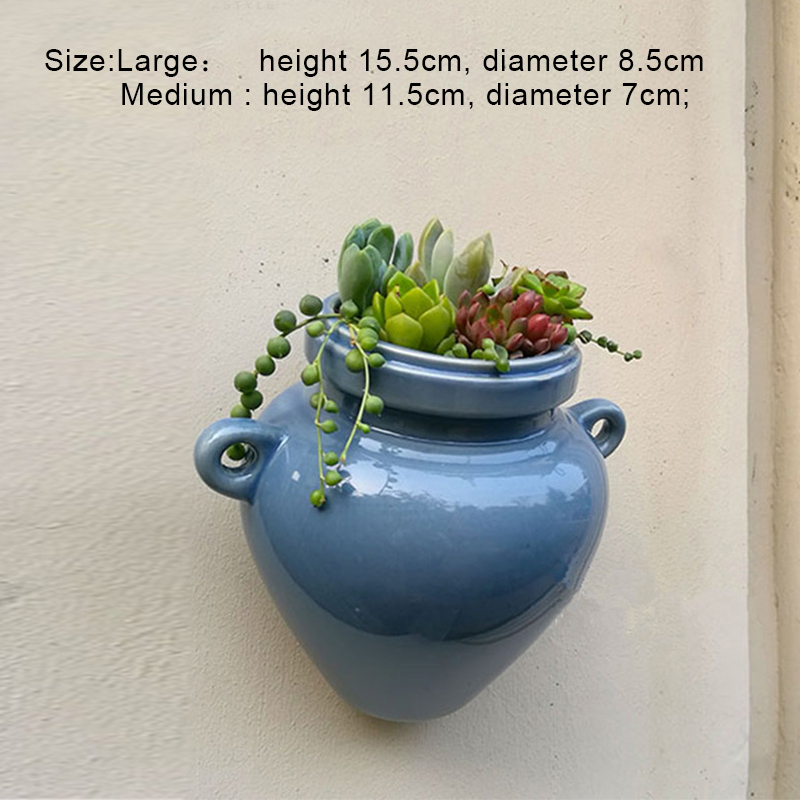 keramičke zidne plantaže planters za succulents plave keramičke - Vrtni proizvodi - Foto 6