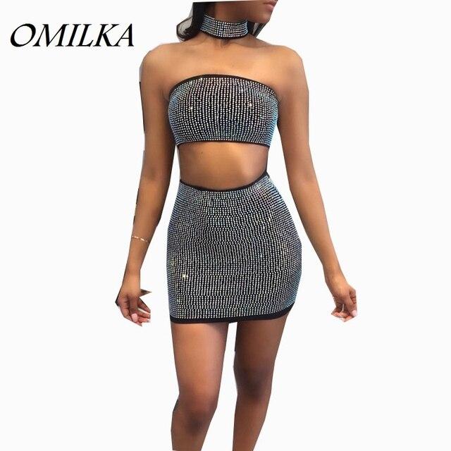 OMILKA 2017 Hot Summer Women Strapless Diamonds