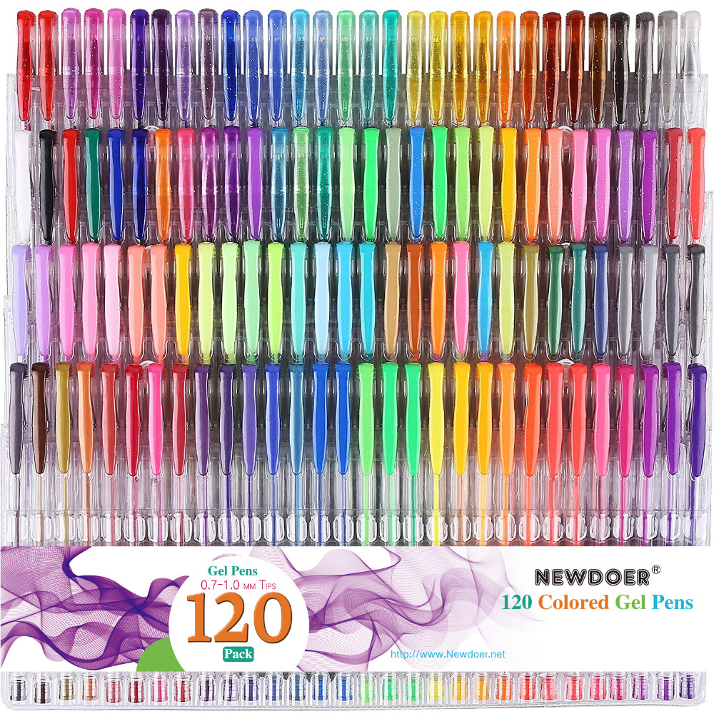 48/60/100/120 Colors Gel Pens Set Refills Gel Ink Pen Metallic Pastel Neon Glitter Sketch Drawing Color Pen School Stationery simple embossed feather tassel wrap necklace for women