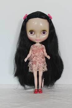 Blygirl Black straight hair nude doll Blyth doll transparent skin ordinary body seven joints change their own makeup