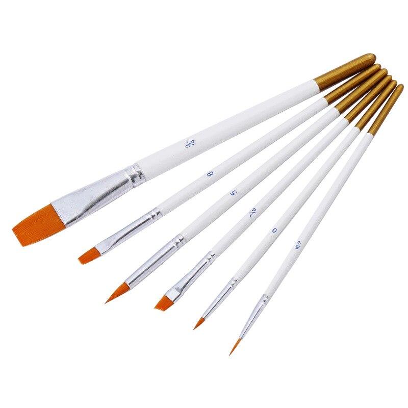 Hot Single Item 6 Pcs/set Nylon Paint Brush Hair White Rod Multi-function Brush Gouache Watercolor Oil Manicure Brush Set