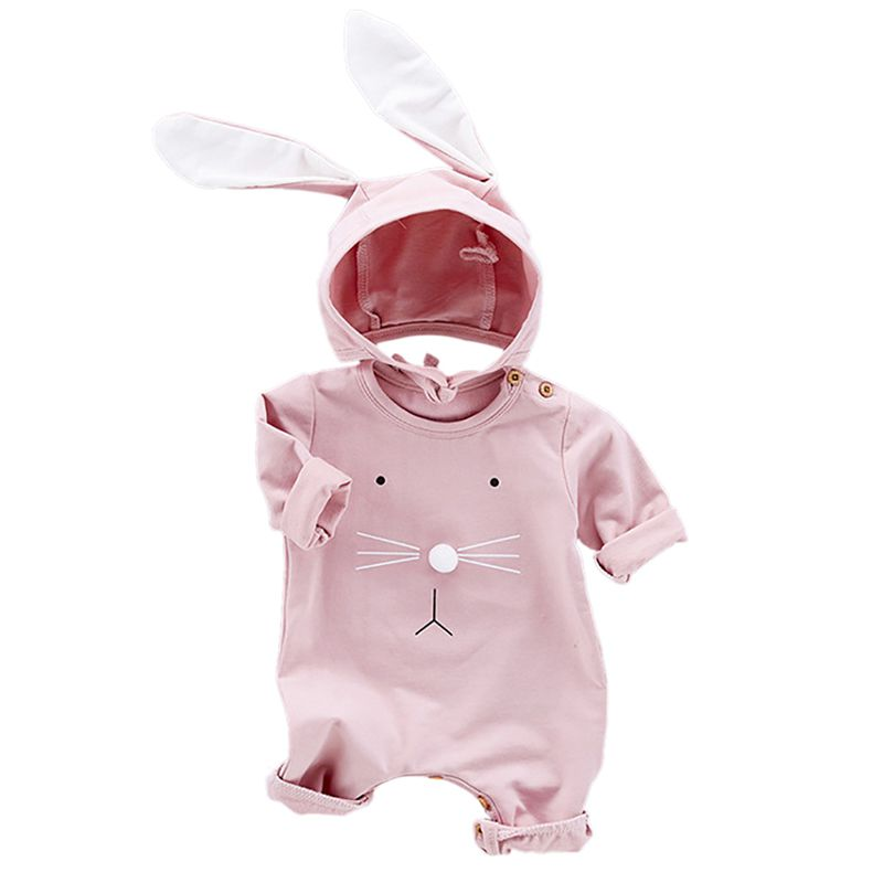 Baby Clothing Newborn Rompers Jumpsuits Baby Girl Romper Clothes Long Sleeve Rabbit Ear Hat 2pcs Infant Autumn цена