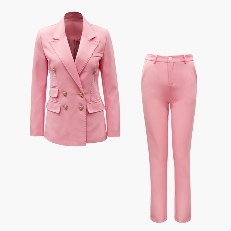 Autumn Spring Stylish Runway Women's Pant Suits Double Breasted Buttons Blazers Pencil Pants Sweet Pink 2 Pieces Sets Outfits