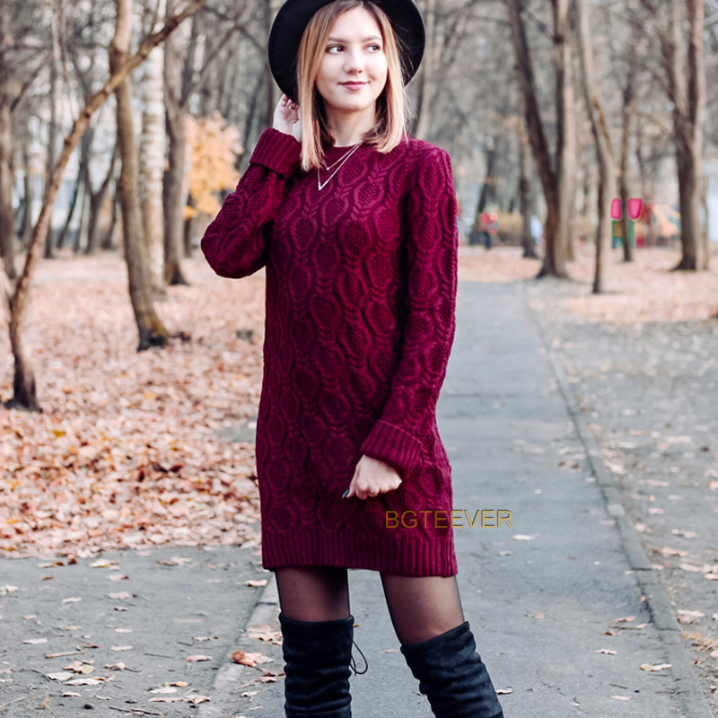 Autumn Winter Thick Warm Sweater Dress Women Sexy O-neck Dress Female Long Sleeve Knitted Dress Femme Vestidos Plus size