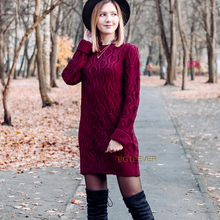 Herbst Winter Dicke Warme Pullover Kleid Frauen Sexy Oansatz Kleid Weibliche Lange Hülse Gestrickte Kleid Femme Vestidos Plus größe