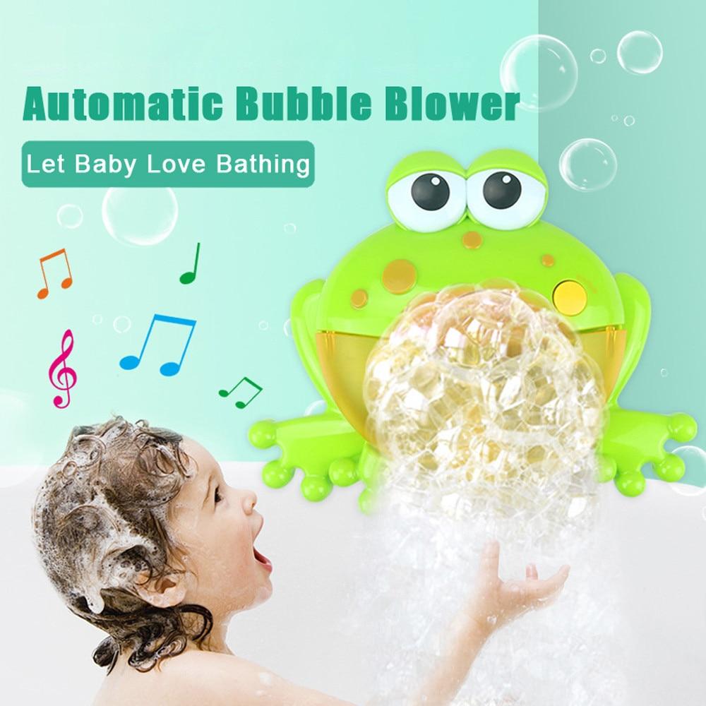 HINST Baby Bath Toy Bubble Maker ranas máquina automática de burbujas soplador de música burbuja fabricante bañera jabón máquina juguetes para niños Li1