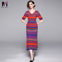 2019 Autumn Knitted 2 Pieces Set Women Sexy V Neck Vintage Wave Striped Pullover Sweater + Midi Pleated Skirt Sweater Suits Set