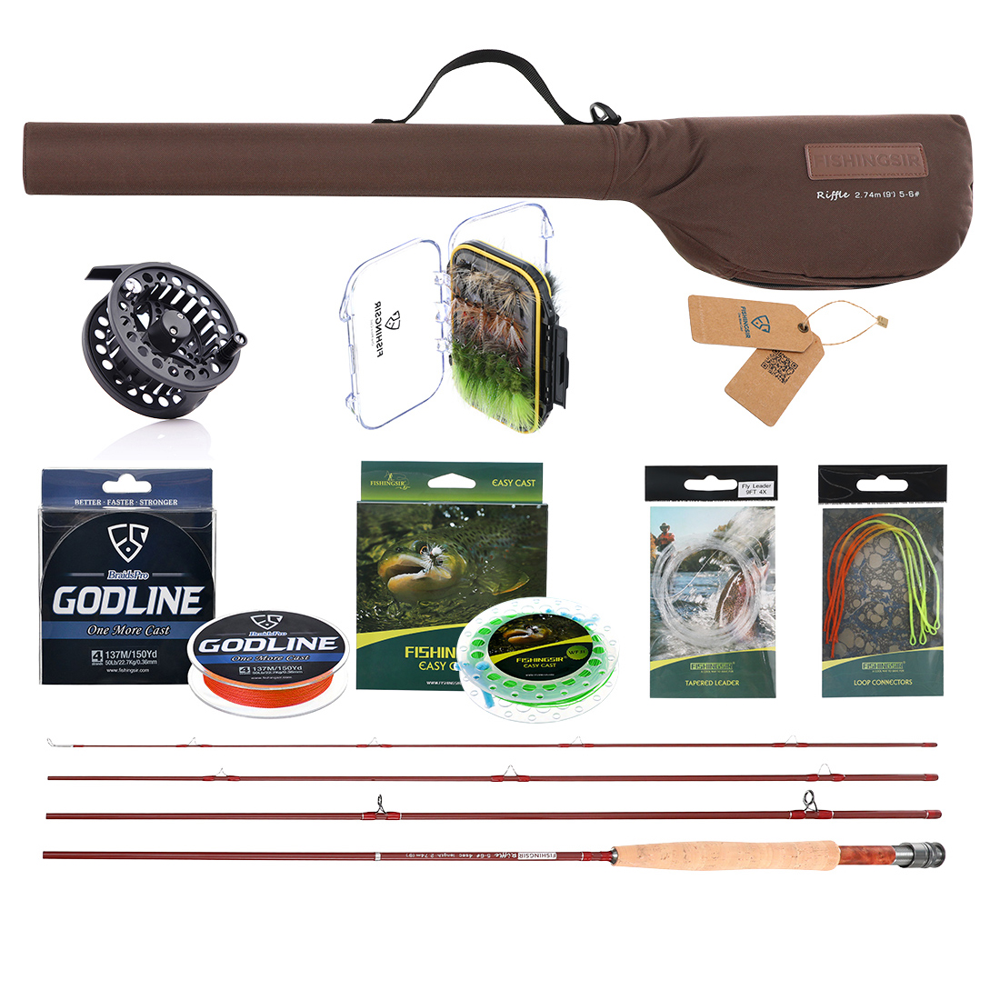 Fly fishing rod reel combo kit set fast action pole 3 4 for Fishing pole kit
