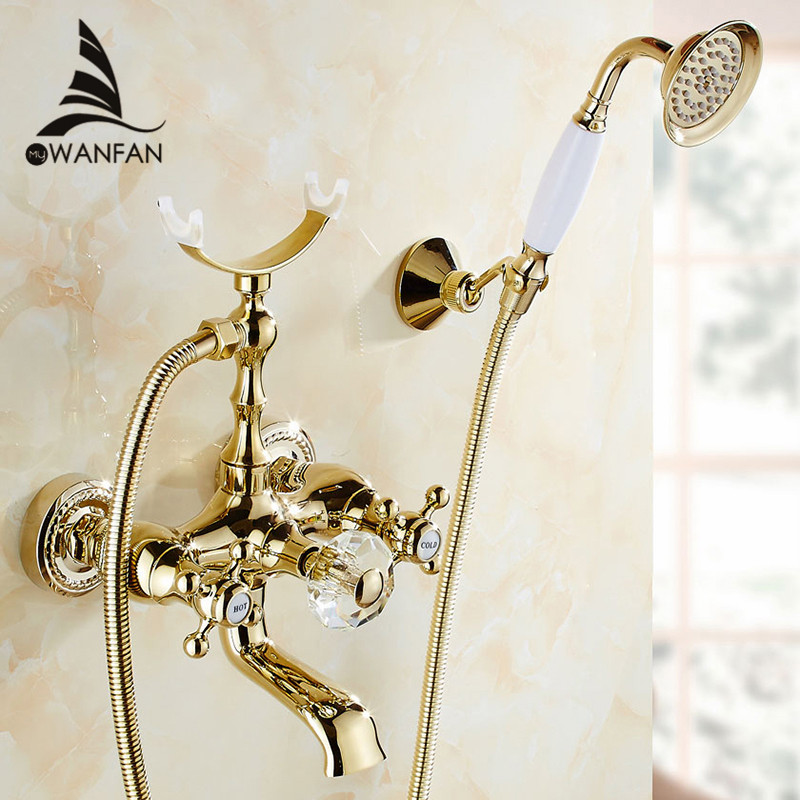 Bathtub Faucets Luxury Gold Brass Bathroom Faucet Mixer Tap Wall Mounted Hand Held Shower Head Kit Shower Faucet Sets HS-G018  luxury bathroom rain shower faucet set antique brass handheld shower head two ceramics lever bathtub mixer tap ars003