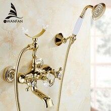 Роскошные золотые латунь ванной смеситель для ванны смеситель настенный ручной душем Комплект смеситель для душа наборы HS-G018