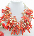 Beautiful! 6 strands  Pearl&Crystal&Coin&Coral Necklace free  shipment