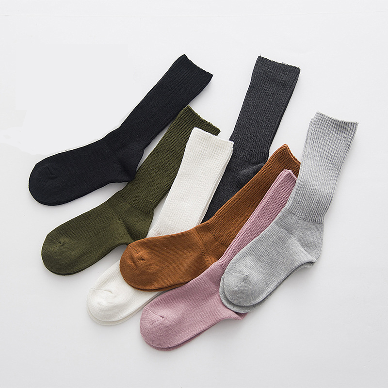 1Pair Womens Fashion Casual Solid Color Long Sock 1