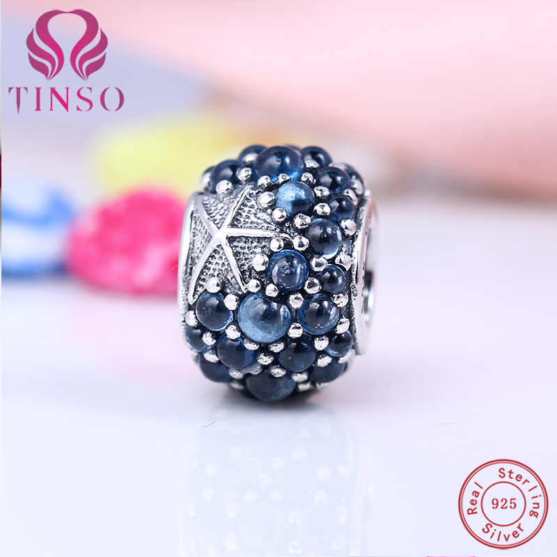Real 100 925 Sterling Silver Luxury Blue Sea Star Charms Beads Fit Pandora Bracelet Pendant DIY