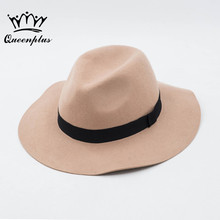 2017 Autumn Winter Fashion wool Vintage Wide-Brim Lace embroidery Pearl bow Fedoras Hats for Women Bowler Floppy Feminino