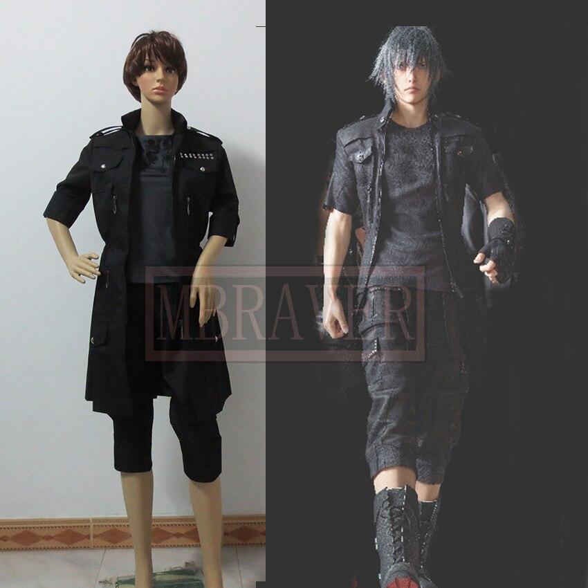 Final Fantasy XV Noctis Cosplay Costume Anime Custom Made Black Uniform