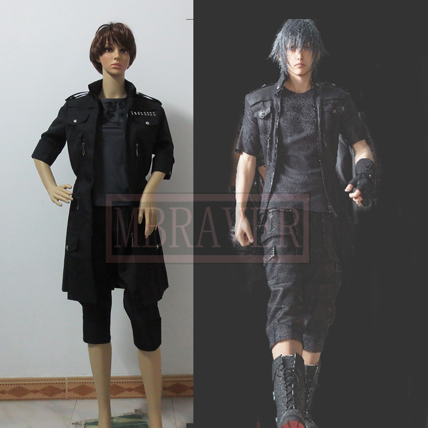 Final Fantasy XV Noctis Cosplay Anime Custom Made uniforme negro(China (Mainland))