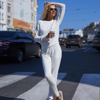 MVGIRLRU Для женщин комплект с толстовкой Повседневное вязаные свитера брюки комплект из 2 частей женские спортивные костюмы