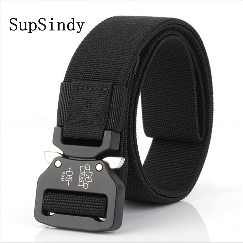 SupSindy men's canvas   belt   Quick release Metal buckle nylon Training elastic   belt   military Army tactical   belt   for Men male strap