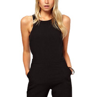 Brand 2017 Summer Elegant Womens Rompers Jumpsuit Casual Solid Bodysuit Sleeveless Crew Neck Long Playsuits Plus