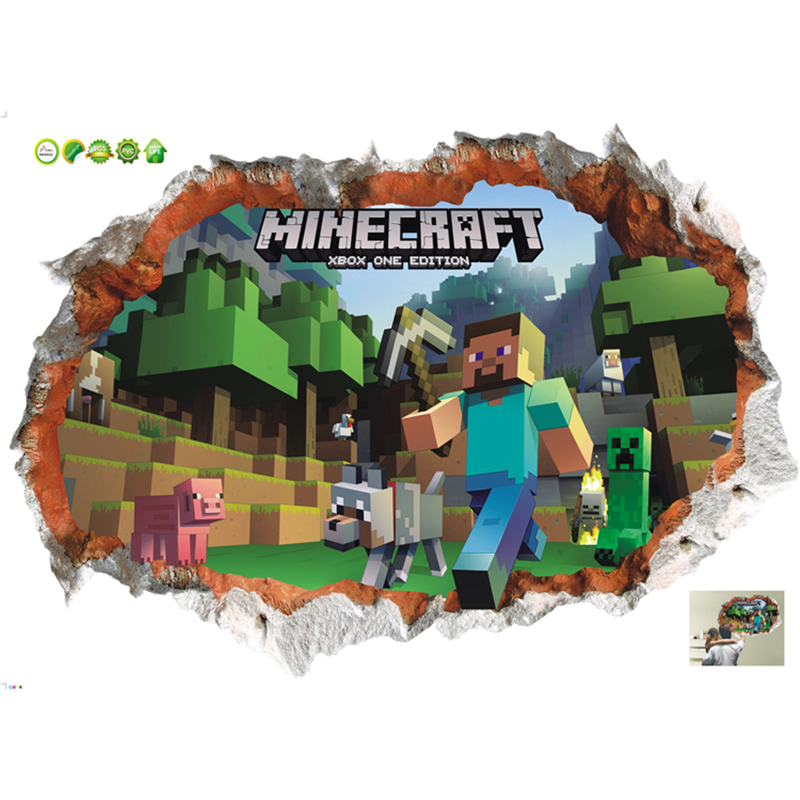 3D Minecraft Game Wall Stickers For Kids Rooms Cartoon Removabled Wallpapers Minecraft Steve Home Decorative Stickers