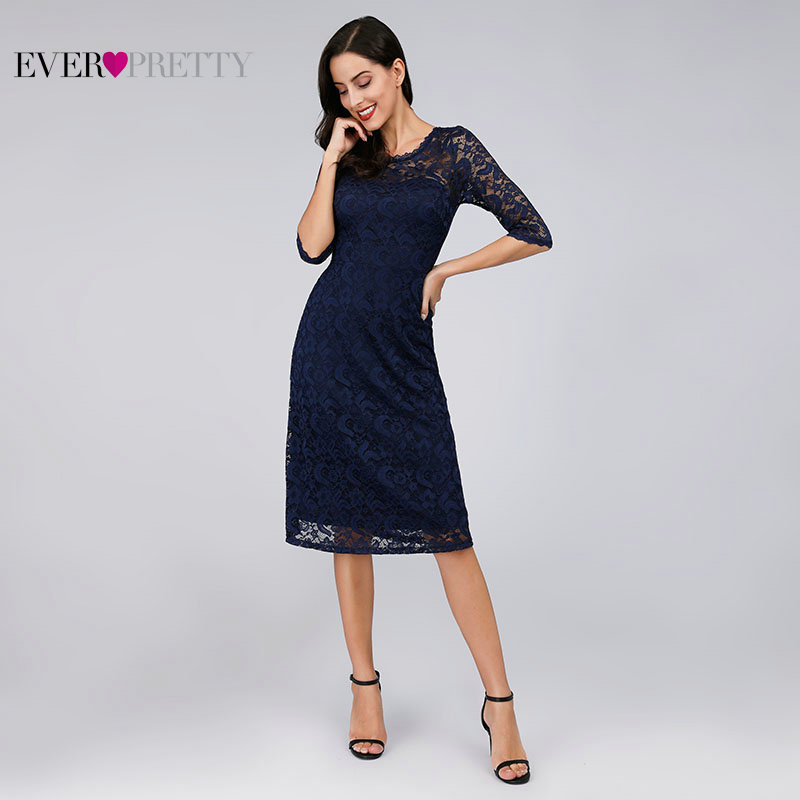 Navy Blue Lace Cocktail Dresses Ever Pretty EZ07665NB See Through Half Sleeves Knee Length Vestidos Mujer 2019 Cocktail Elegant