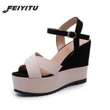 FeiYiTu Women Fish Mouth Platform High Heels Wedge Sandals Buckle Slope Sandals Women's High Heel Shoes Eu Size 35-39 2017 women high heel sandals sexy crystal transparent women shoes fish head high platform 14cm19cm shoes sandals buckle style