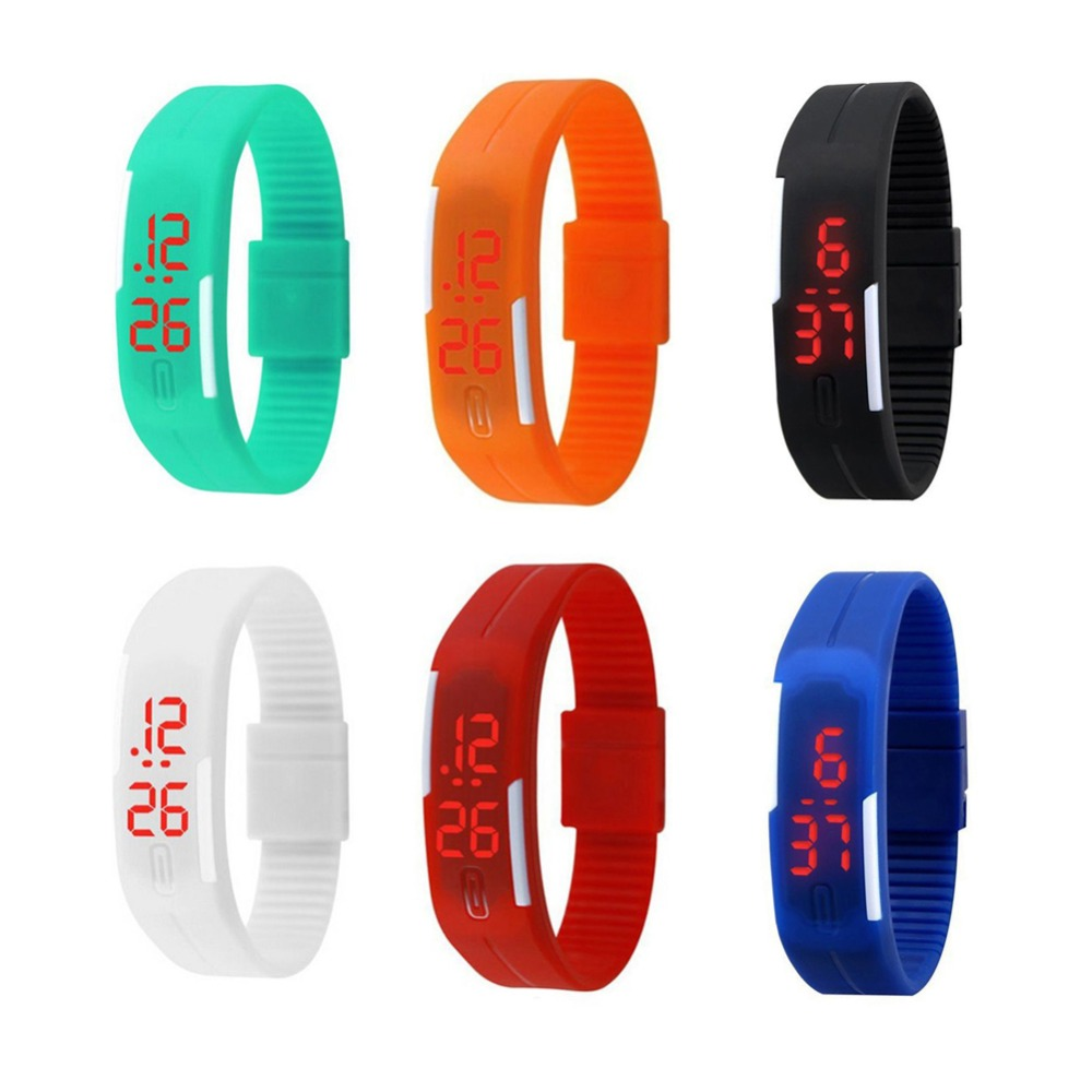 Men's Watches Honey Fashion Mens Women Kids Students Silicone Rubber Soft Sport Led Digital Watches Touch Screen Boys Girls Bracelet Wrist Watches