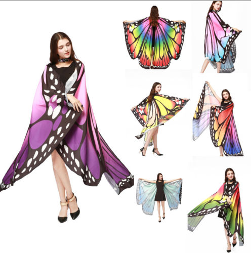 Wholesale New 7 Colors Women Scarf Pashmina Butterfly Wing Cape Peacock Shawl Wrap Gifts Cute Novelty Print Scarves Pashminas