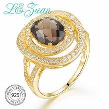 L& zuan 925 пробы Серебряное натуральное кольцо с дымчатым кварцем для женщин коричневый драгоценный камень круглые золотые кольца белые украшения с цирконами