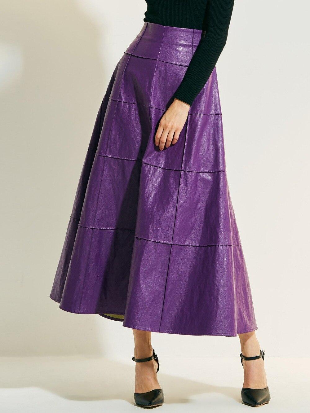 2018 High Waist Pleat Elegant Skirt red purple palid Solid Color Long Skirts Women Faldas Saia A line Plus Size Ladies Jupe