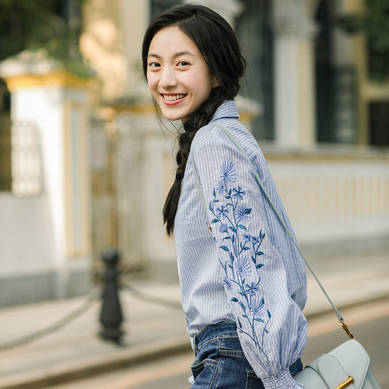 Image 5 - INMAN Spring Autumn Blouse Turn Down Collar Embroidery Stripped Loose Style All Matched Women Tops BlouseBlouses & Shirts   -