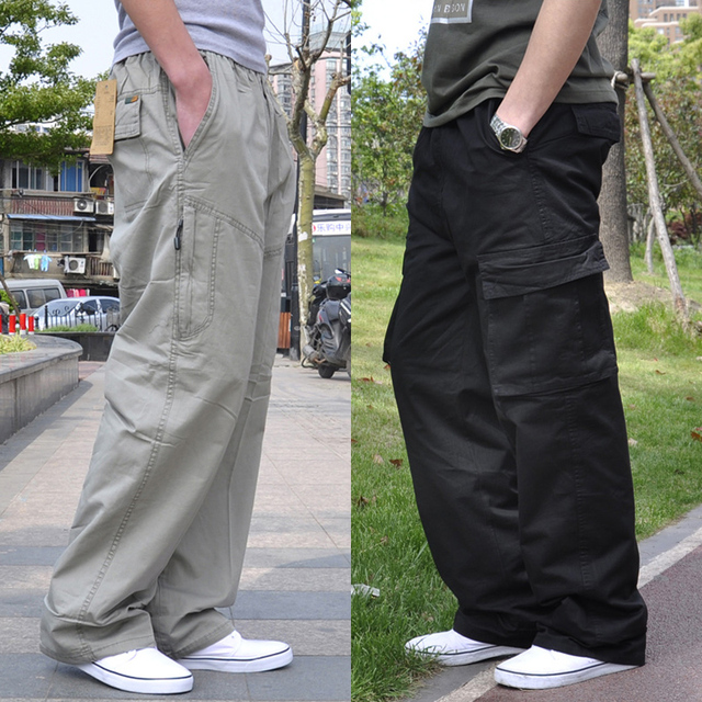 Free shipping Plus size male casual pants loose 100% cotton fat thin plus size pockets overalls loose long trousers 5xl 6xl