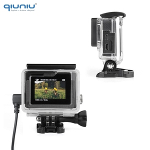 Image 3 - QIUNIU External Microphone Mic + Transparent Skeleton Housing Case for GoPro Hero 4 3+ 3 Action Camera for Go Pro Accessories