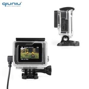 Image 3 - QIUNIU חיצוני מיקרופון מיקרופון + שקוף שלד שיכון מקרה עבור GoPro Hero 4 3 + 3 פעולה מצלמה עבור ללכת פרו אבזרים